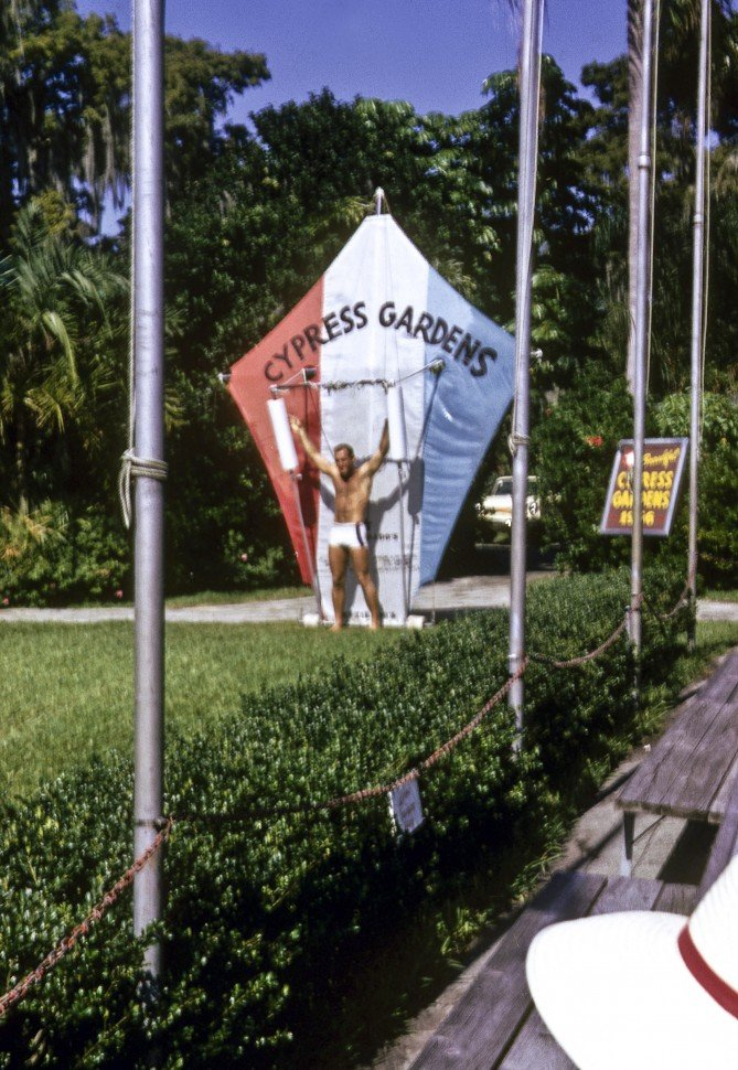Free image of Man preforming with an oversized kite in Cypress Gardens, Florida