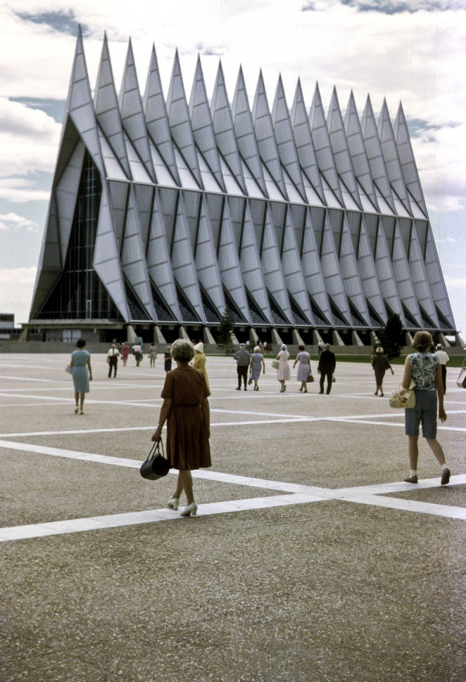 Free image of Group of people walking in front of Air Force Academy, Colorado Springs, Colorado, USA.