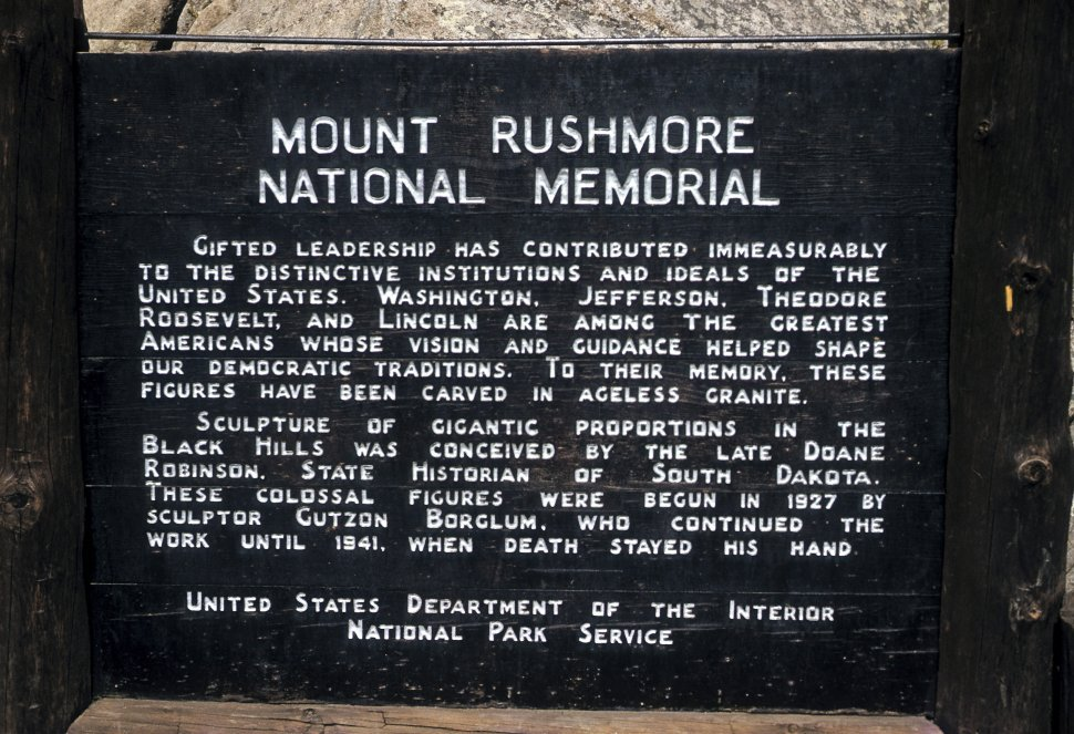 Free image of Close up of sign at Mount Rushmore, South Dakota, USA