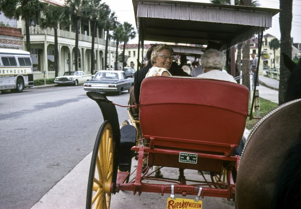 Free image of Woman smiling back at the camera from a horse drawn carriage.