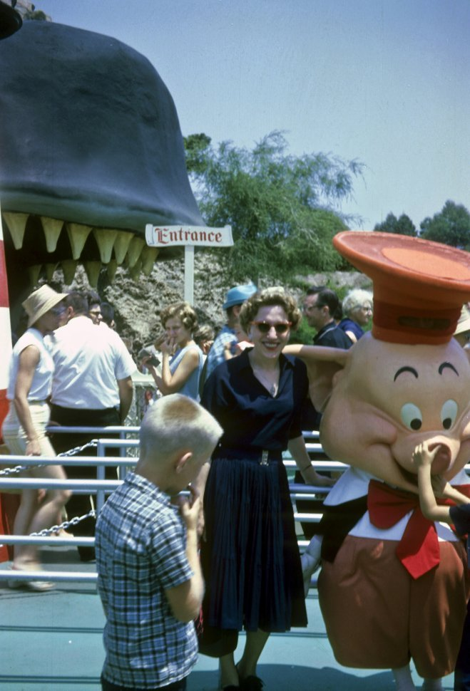 Free image of Woman and children standing with a person in a character costume at Disneyland, Anaheim, California, USA