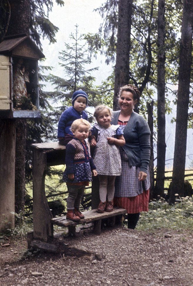 Free image of Woman and her children posing for a photograph in a forest.