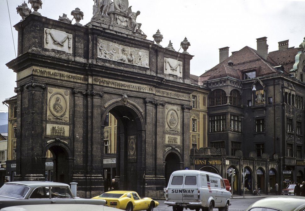 Free image of Traffic and architecture, circa 1968, Vienna, Austria