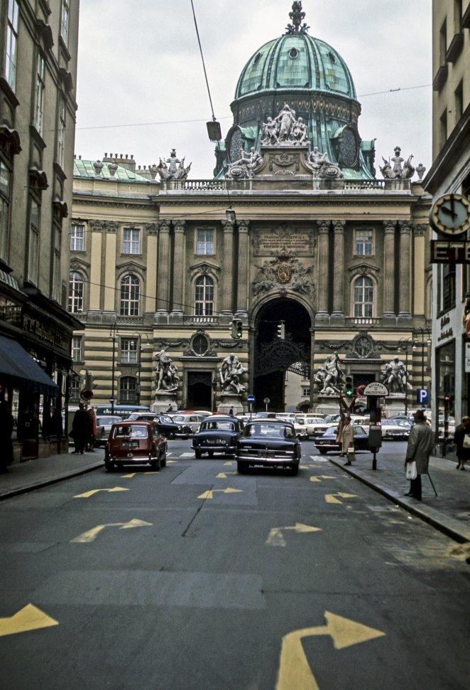 Free image of Traffic and architecture, circa 1968, Vienna, Austria