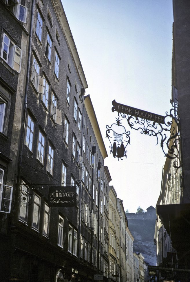 Free image of Signs and skyline, circa 1968, Vienna, Austria