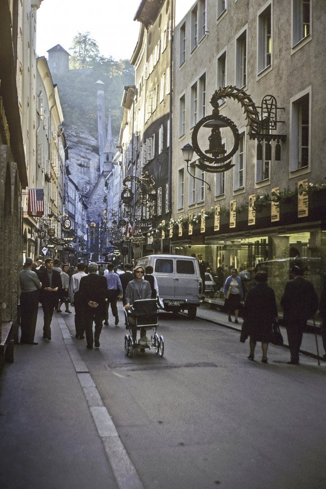Free image of Street scene and alley of shops, circa 1968, Vienna, Austria