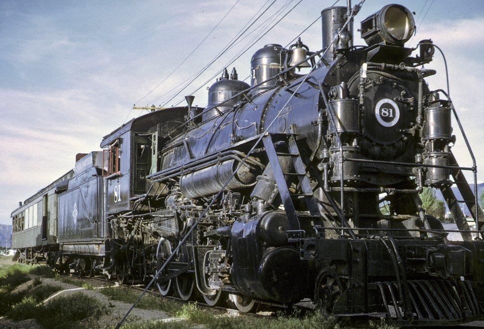 Free image of Antique Locomotive 81 train sitting on railroad tracks, circa 1969, Ely, Nevada, USA