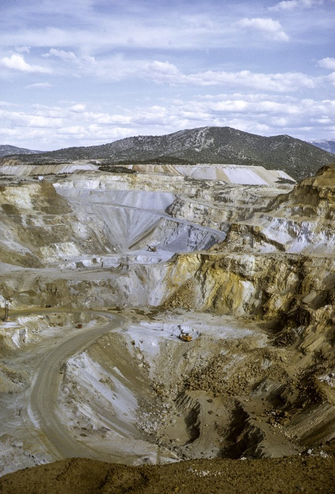 Free image of Aerial view of mining on a hillside, circa 1969, Nevada, USA.