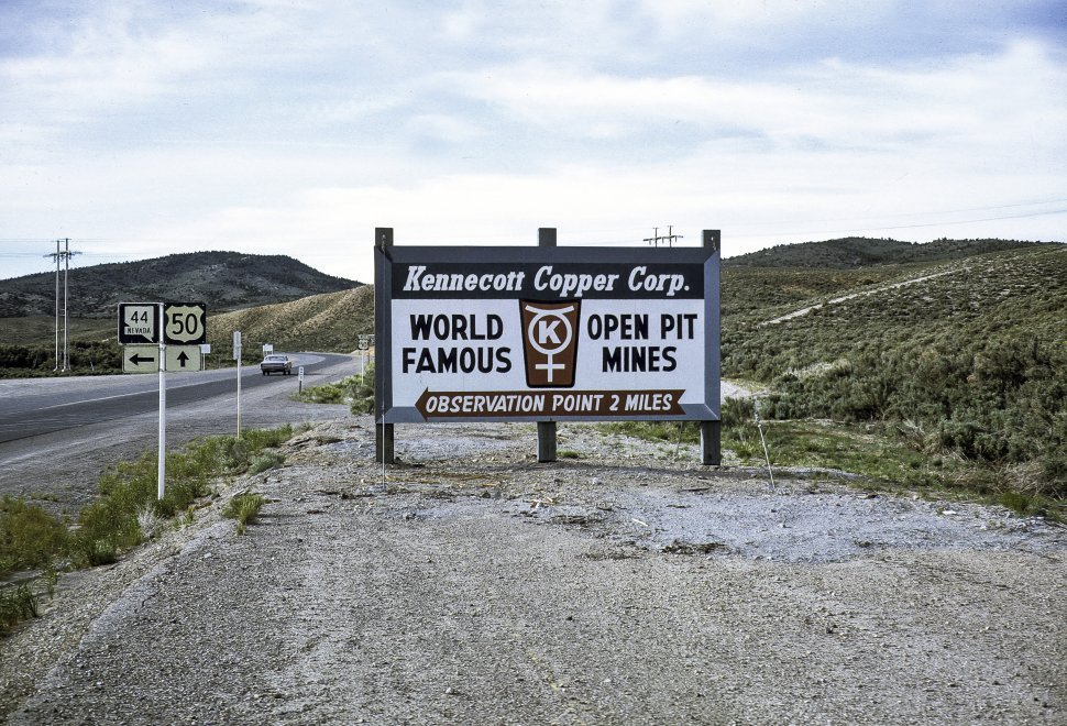 Free image of Sign for mining observation point, circa 1969, Nevada, USA