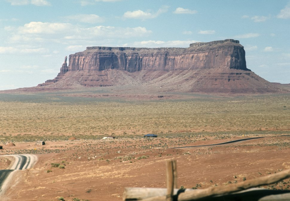 Free image of Landscape image of a large mesa and desert, circa 1969, Monument Valley, Utah, USA
