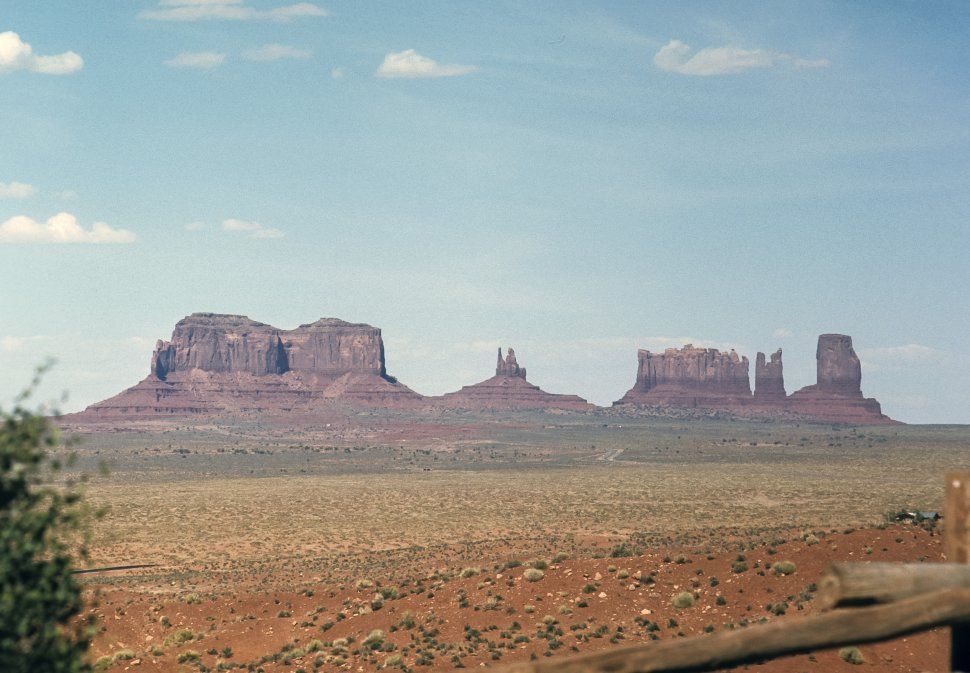 Free image of Landscape image of rock formations in the desert, circa 1969, Monument Valley, Utah, USA