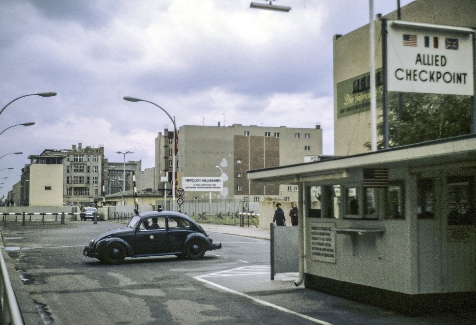 Free image of Volkswagen sitting at a government checkpoint in East Berlin, Germany.