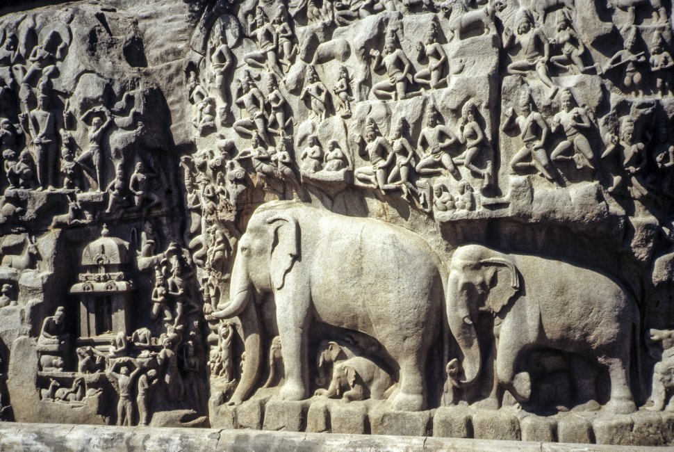 Free image of Close up of a stone carving of elephants, India