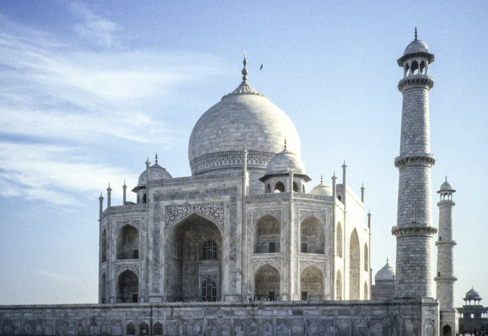 Free image of Image of Taj Majal and sky, with a bird flying above, India