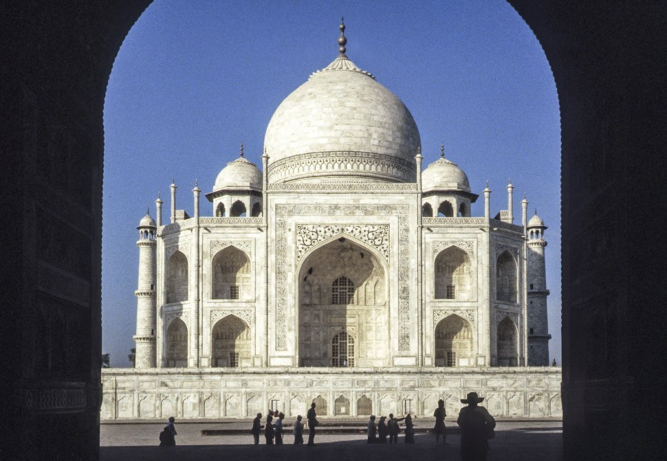 Free image of Image of Taj Majal and sky, through an archway, India