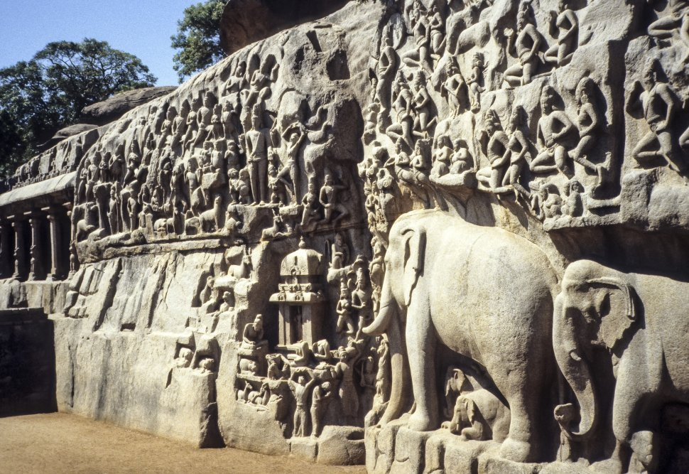 Free image of Close up of a stone carving of elephants and people, India