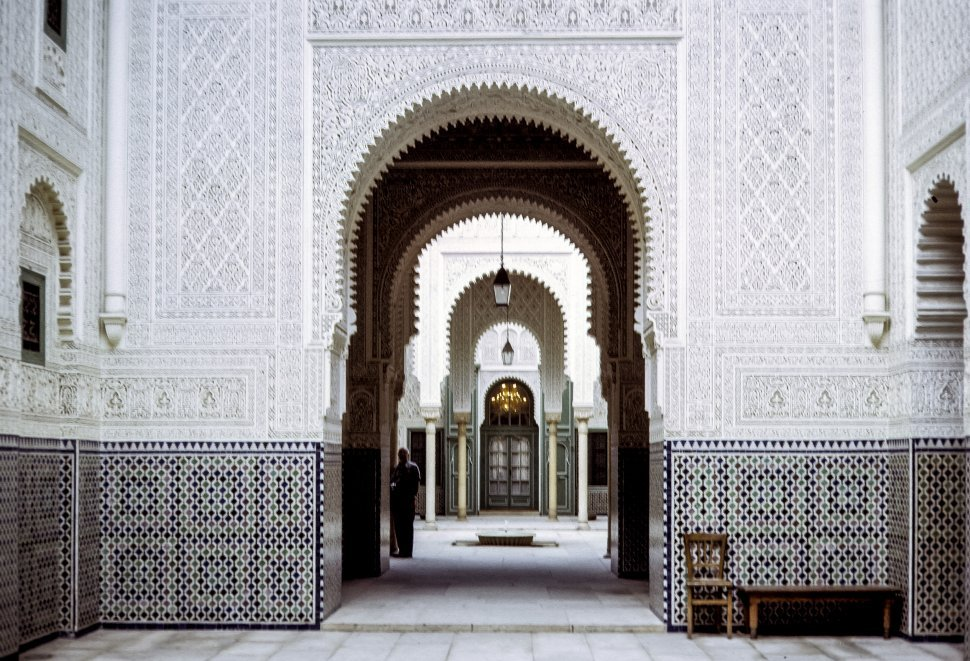 Free image of Man standing in an archway of a palace, circa 1971, Morocco, Africa