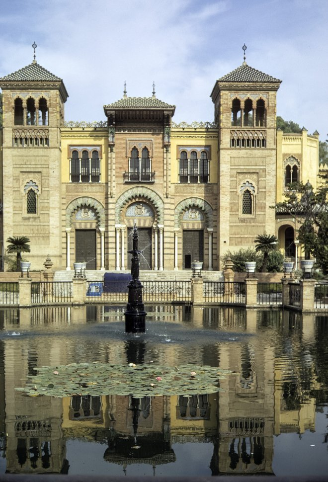 Free image of View of a fountain and palace facade, circa 1971, Morocco, Africa