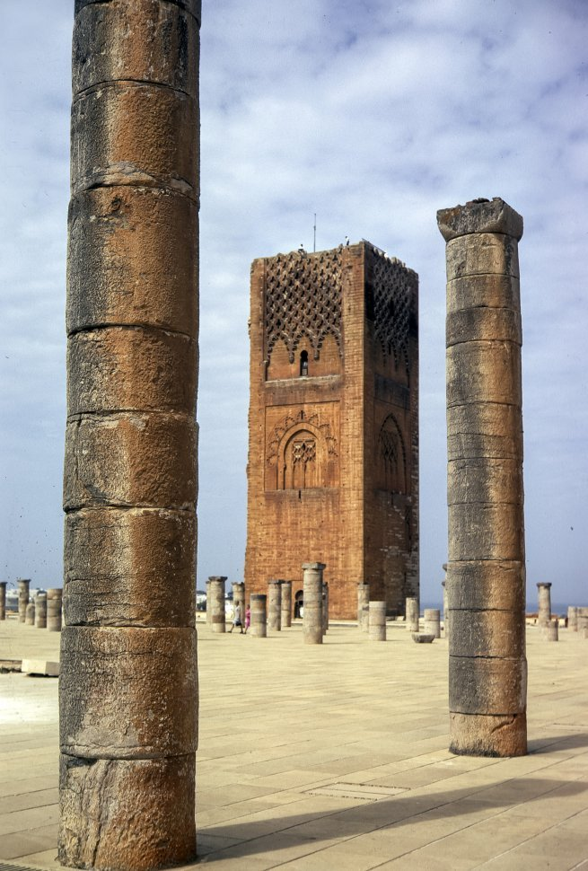 Free image of Ancient Moroccan tower with many columns surrounding it, circa 1971, Morocco, Africa