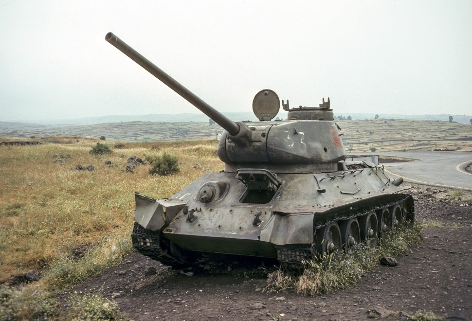 Free image of Israeli military tank on the side of the road, circa 1976, Israel