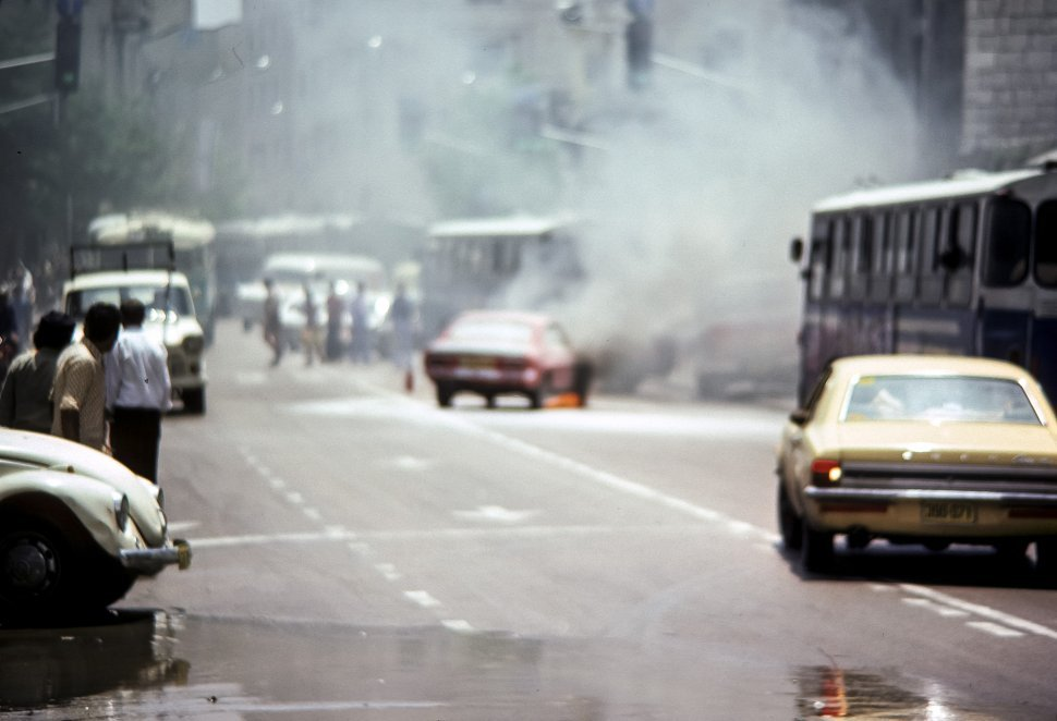 Free image of Car accident with a crowd watching, circa 1976, Israel