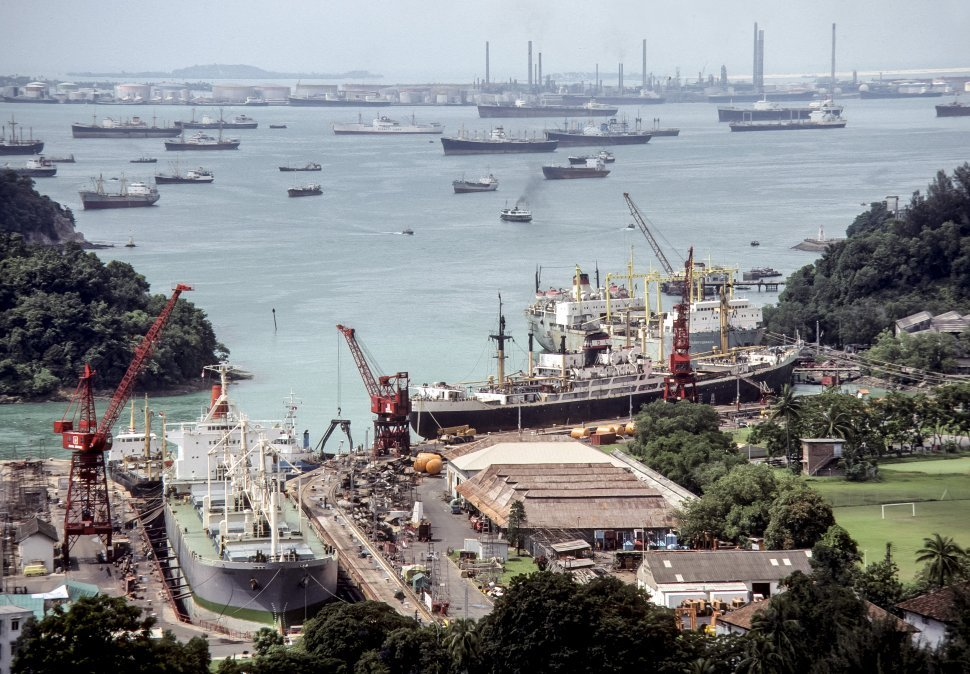 Free image of Shipyard and large group of boats in the bay, Japan