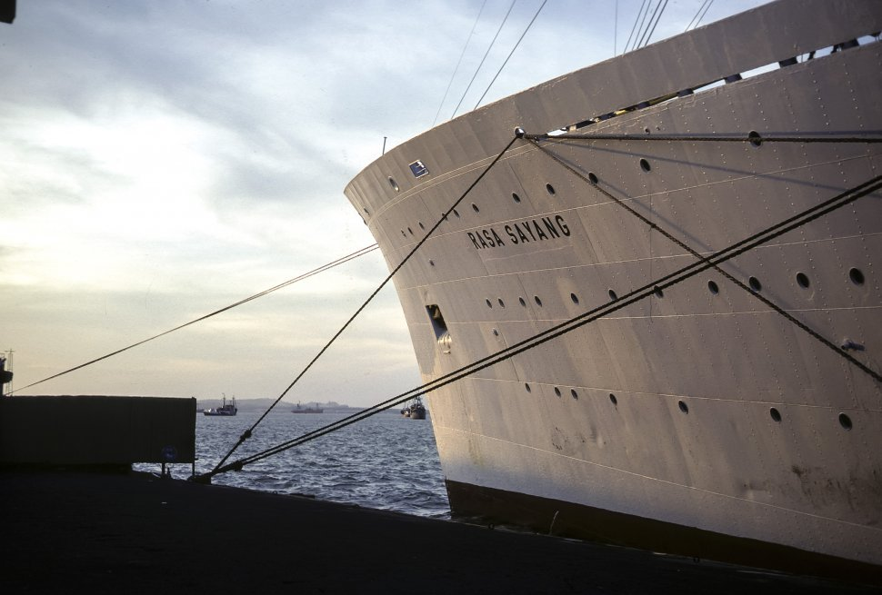 Free image of Image of the side of a large cruise ship and it s bow, Japan
