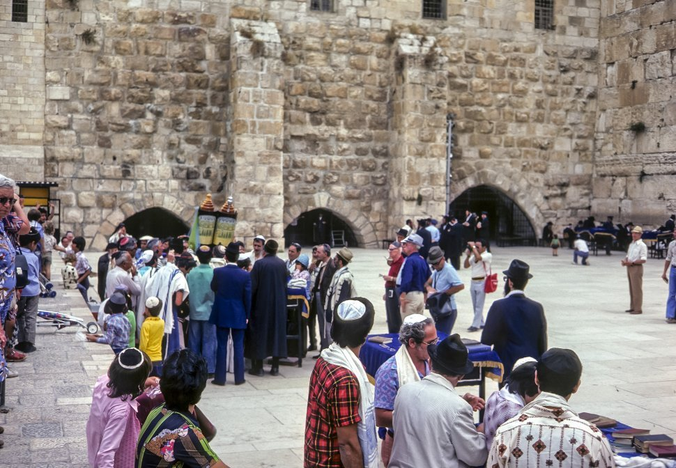 Free image of Group of people walking around the Wailing Wall, circa 1976, Israel
