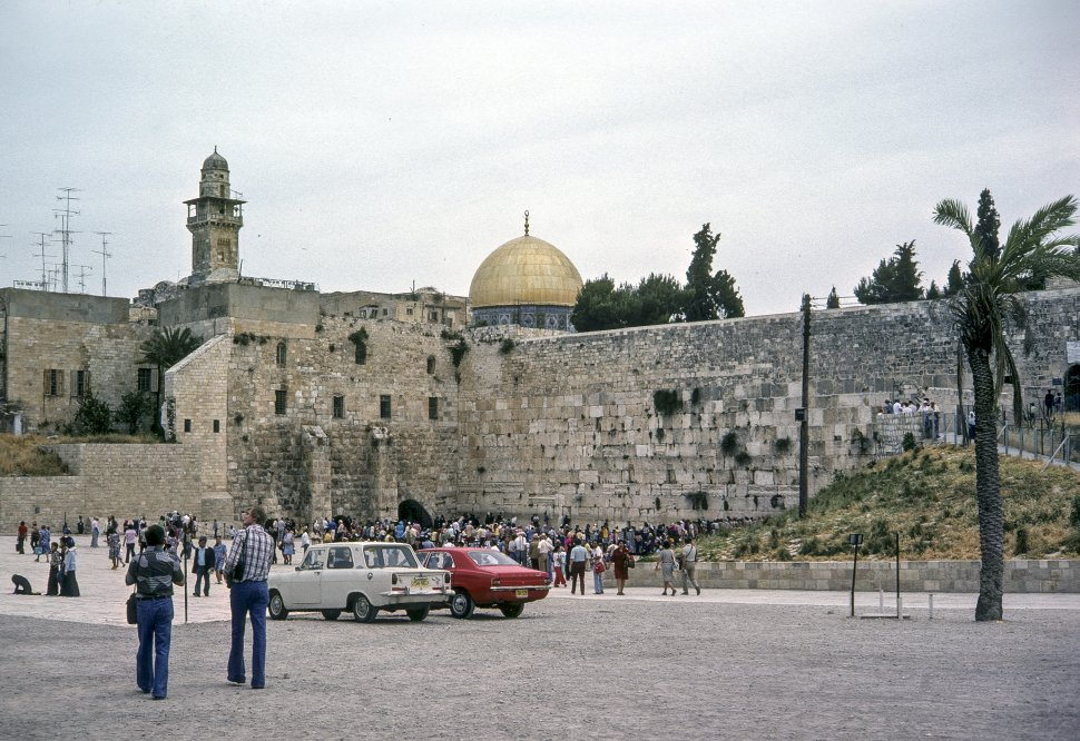Free image of Group of people walking around the parking lot, circa 1976, Israel