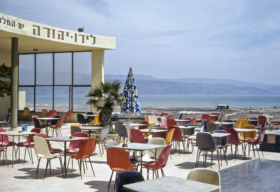 Free image of Outdoor cafe and vista to the ocean, circa 1976, Israel