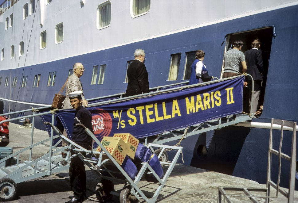 Free image of Tourists boarding a cruise ship with their luggage, Europe