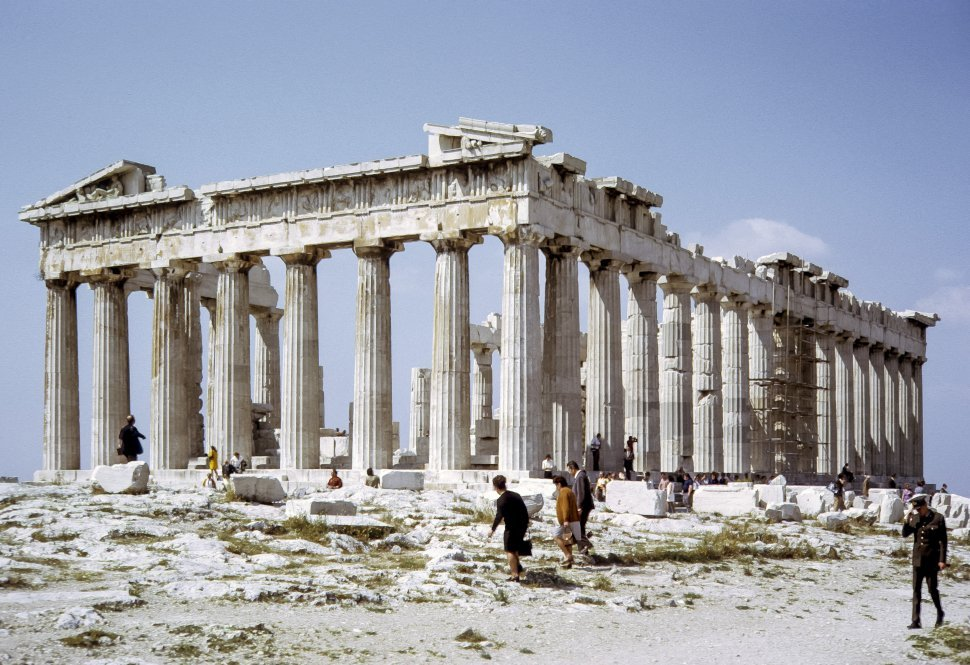 Free image of Large group of tourists photographing the Parthenon, Athens, Greece