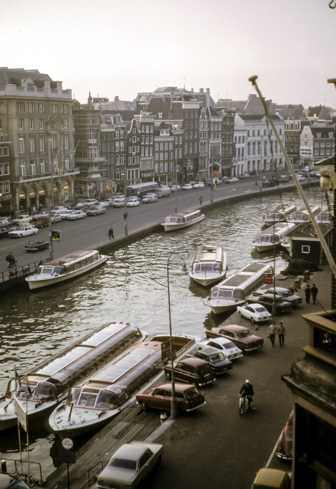 Free image of Group of boats and buildings along a waterway, Amsterdam, Netherlands, Europe