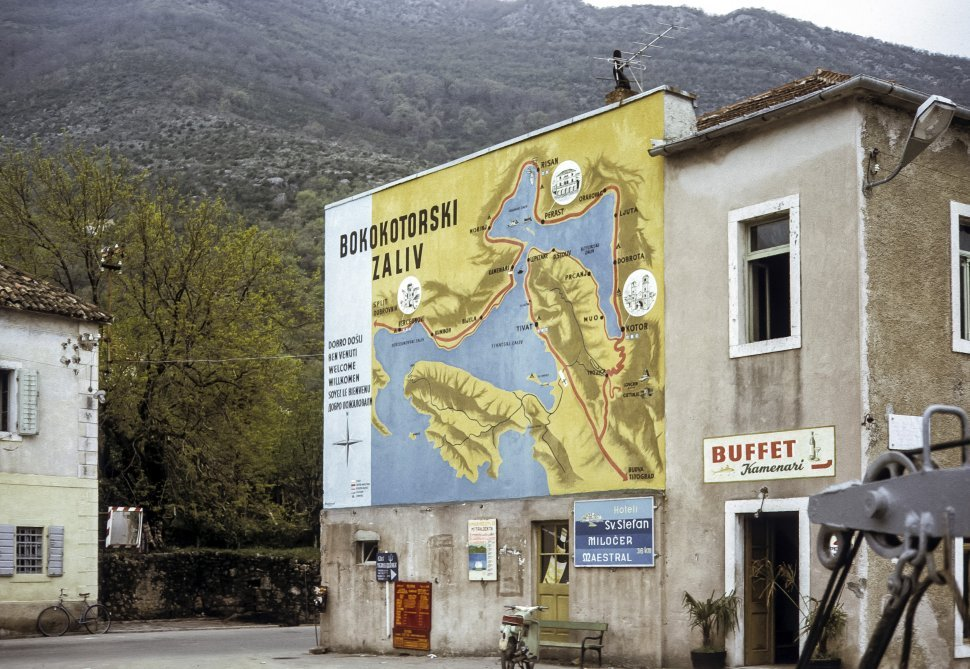 Free image of Image of a map of Croatia pinted on the side of a restaurant in a mountain village, Croatia
