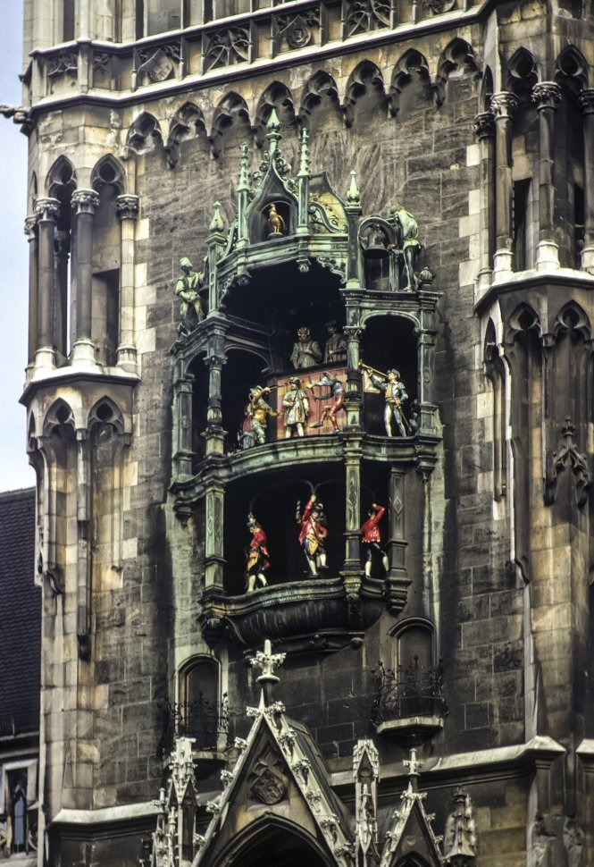 Free image of Facade of a Munich, Glockenspiel City Hall with statues, Munich, Germany.