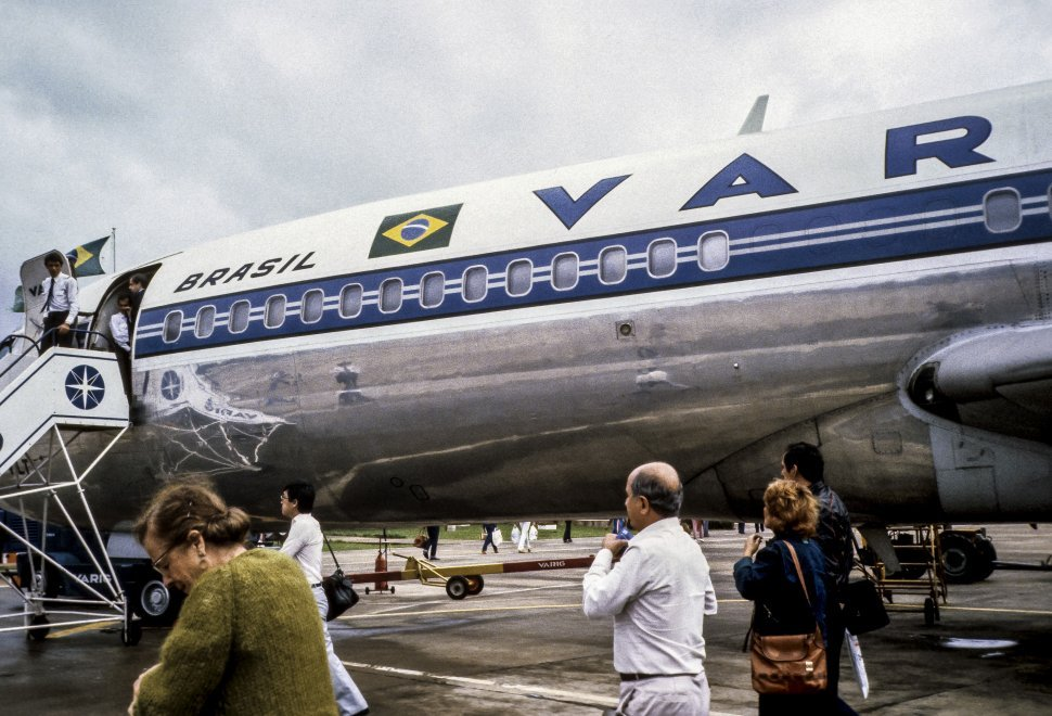 Free image of Travellers boarding a Brazilian Airlines plane on the runway, Brazil