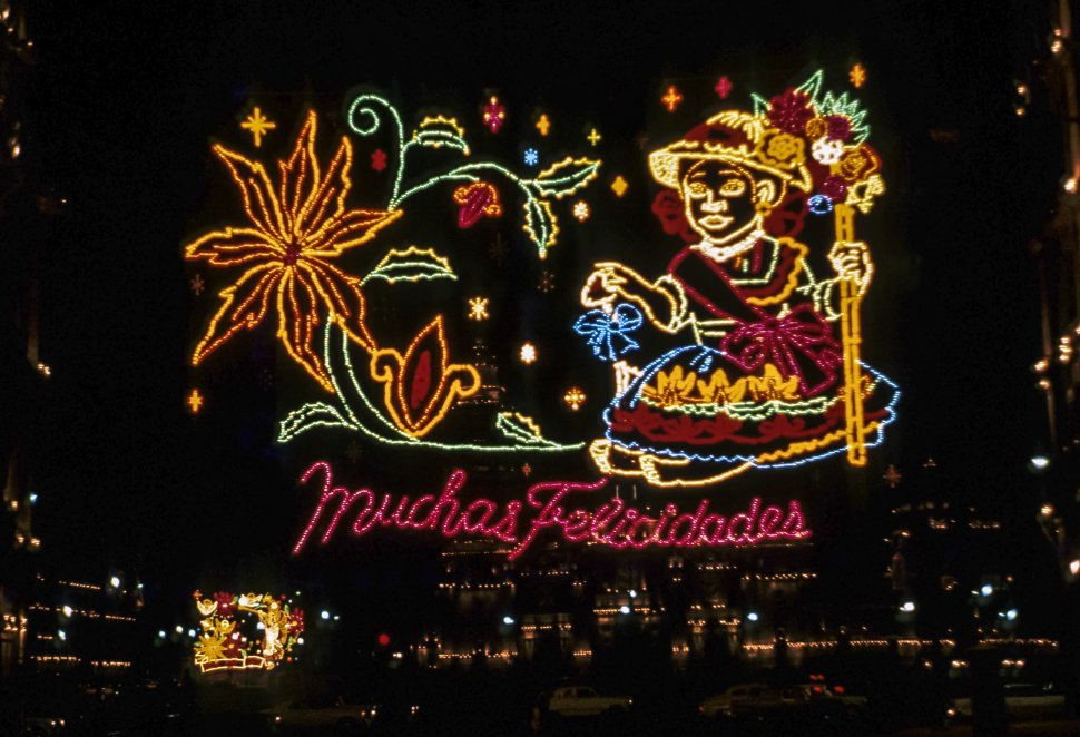 Free image of Large light display of a woman and flowers. Mexico city, Mexico