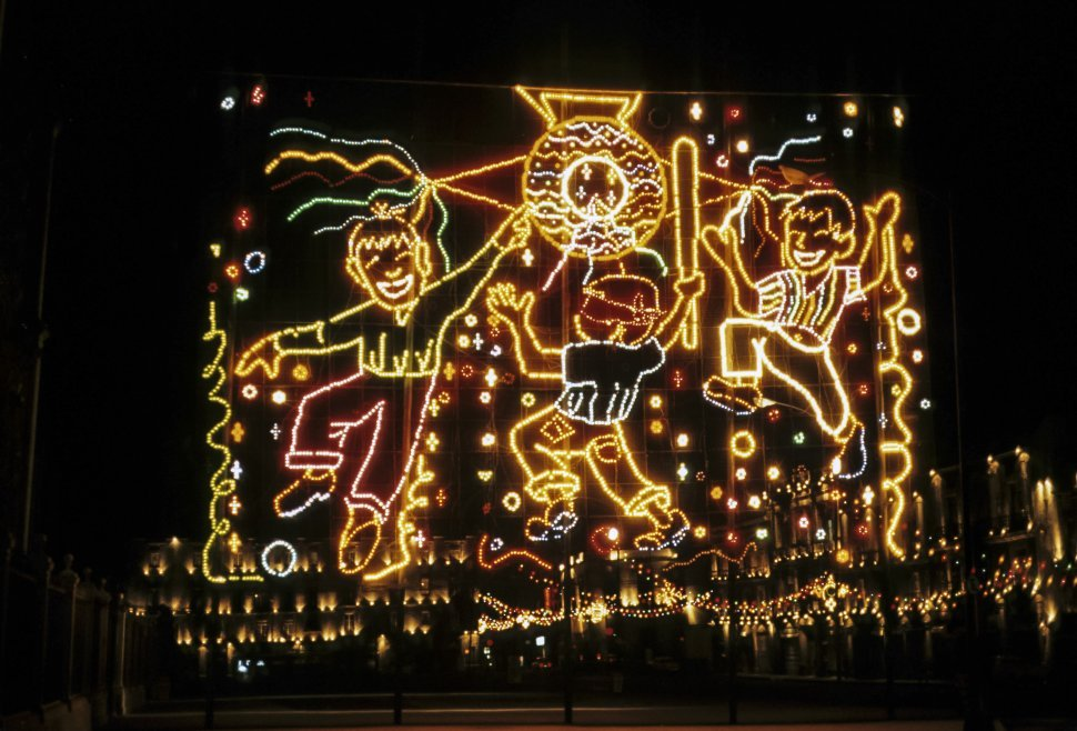 Free image of Large light display of children playing baseball. Mexico city, Mexico