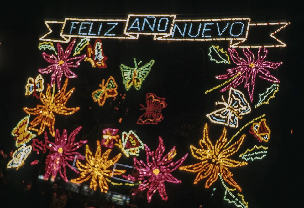 Free image of Happy New Year sign in Spanish with lights. Mexico city, Mexico