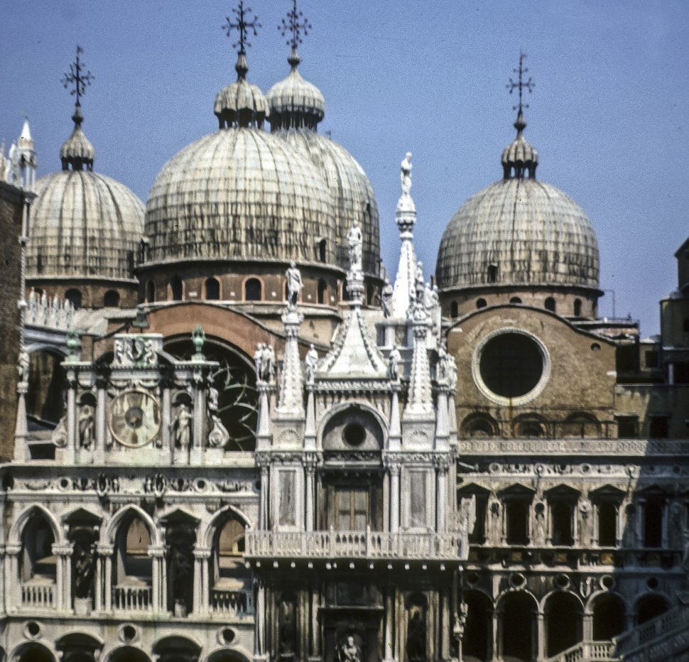 Free image of Towers and facade of Saint Mark s Basilica, Venice, Italy