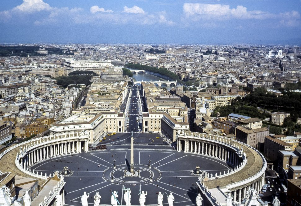 Free image of Aerial view of the courtyard of the Istituto Per Le Opere di Religione, or the Vatican Bank, Rome, Italy