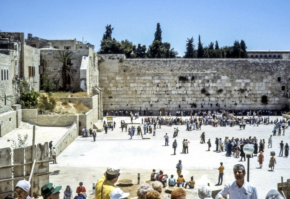 Free image of Crowd of tourists at the Wailing Wall, Israel