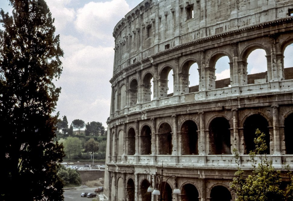 Free image of Image of the side of The Colliseum in Rome, Italy