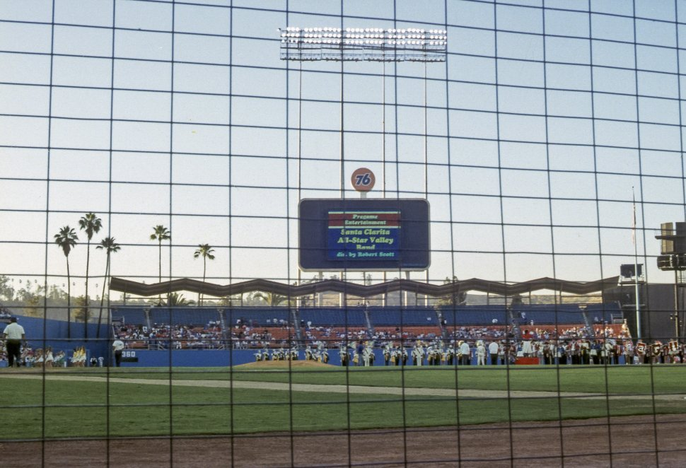 Free image of Lights and scoreboard of the Santa Clarita baseball field, California