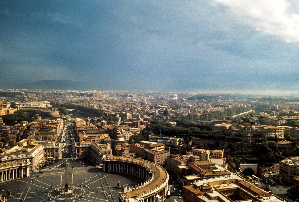 Free image of Aerial view of Rome and the Vatican Bank, Rome, Italy