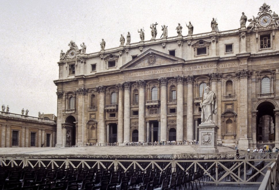 Free image of Beautiful columned building facade with a stage below, Vatican City, Rome, Italy