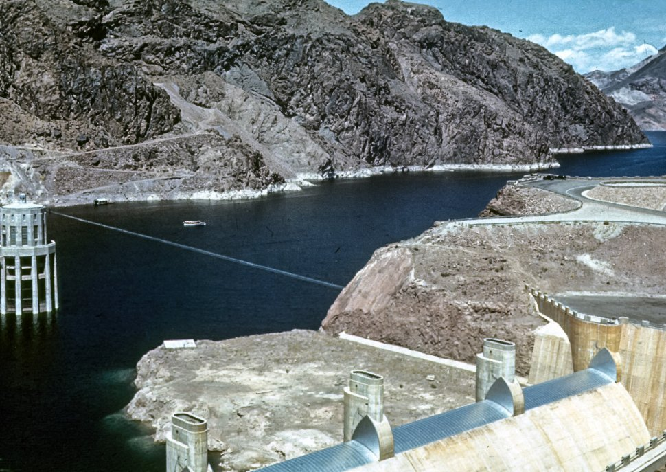 Free image of Aerial view of one of the towers of the Hoover Dam, Nevada, USA