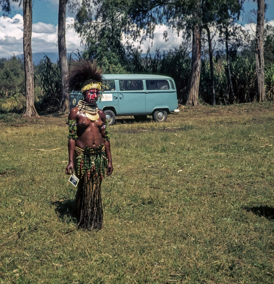 Free image of Tribal woman posing in front of a bus in the rainforest in traditional outfit and headdress.