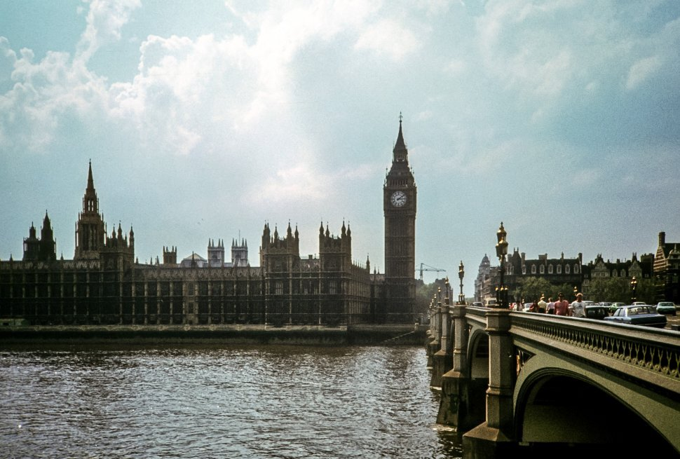Free image of Image of Big Ben and tourists walking across bridge, London, England
