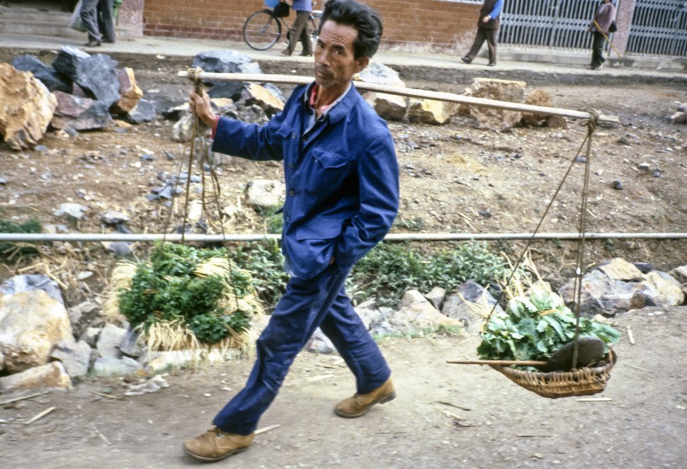 Free image of Man carrying baskets of vegetables on his shoulder, Asia
